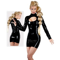 MINI ABITO IN LATEX NERO COLLO ALTO M